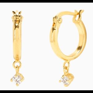 Mejuri White Sapphire Charm Dangle Huggies in Gold